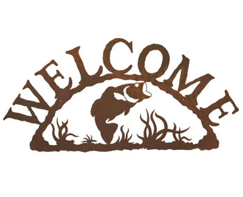 Bass Fish Metal Welcome Sign