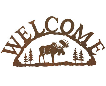 Moose Metal Welcome Sign
