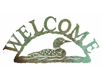 Swimming Loon Metal Welcome Sign