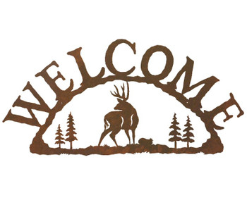 Mule Deer Metal Welcome Sign