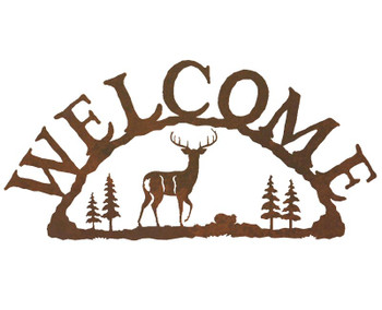Whitetail Deer Metal Welcome Sign