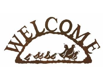 Quail Bird Family Metal Welcome Sign