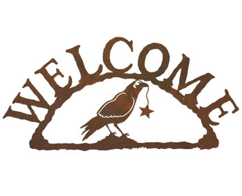 Crow Bird Metal Welcome Sign