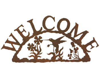 Hummingbird Metal Welcome Sign