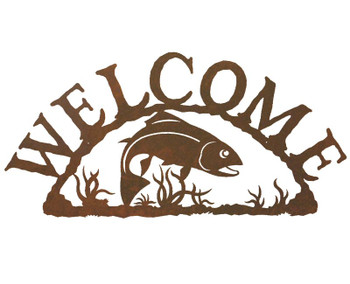 Trout Fish Metal Welcome Sign