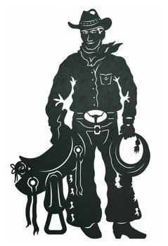 "42"" Cowboy with Saddle Metal Wall Art"