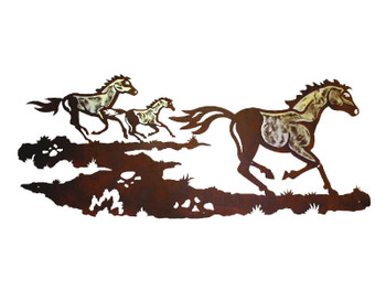 "57"" Wild Horses Running Metal Wall Art"