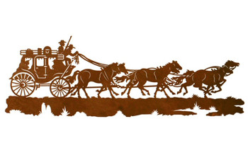 "42"" Stagecoach with Horses Metal Wall Art"