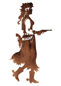 "30"" Cowgirl with Pistol Metal Wall Art"