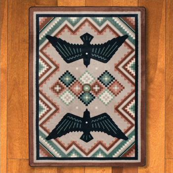 3' x 4' Sunset Dance Bird Symbol Southwest Rectangle Scatter Rug