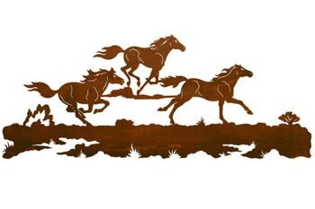 "57"" Running Wild Horses Metal Wall Art"