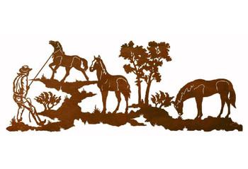 "57"" Remuda Cowboy with Horses Metal Wall Art"