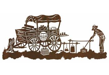 """57"""" Old West Chuck Wagon Metal Wall Art"""