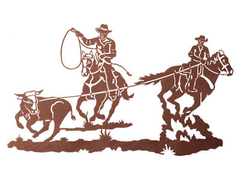 "41"" Team Cowboy Ropers Metal Wall Art"