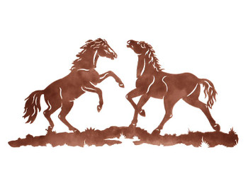 "42"" Two Wild Horses Metal Wall Art"