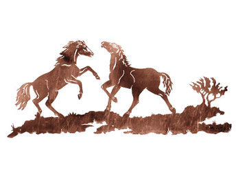 "57"" Wild Horses Playing Metal Wall Art"