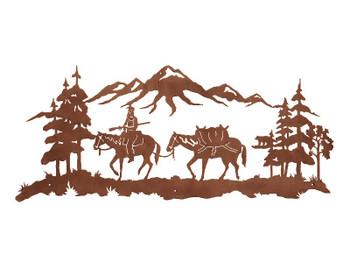 "57"" Mountain Man Riding Horse Metal Wall Art"