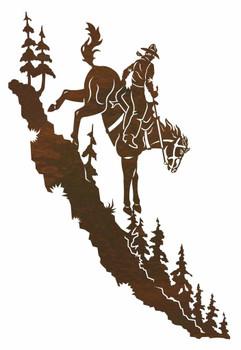"42"" Cowboy Riding Horse Down a Mountain Metal Wall Art"