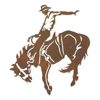 "20"" Bucking Bronco Rider Metal Wall Art"