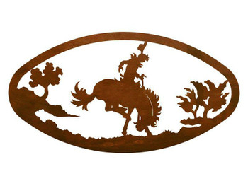"22"" Oval Bucking Bronco Rider Metal Wall Art"