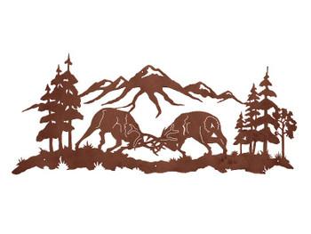 "57"" Bull Elk Fighting Metal Wall Art"