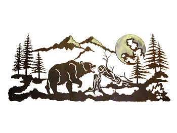 "57"" Walking Bear in the Pine Forest Metal Wall Art"