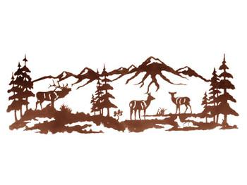 "84"" Elk Family in the Pines Metal Wall Art"