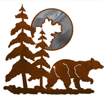 "20"" Bear and Moon Metal Wall Art"