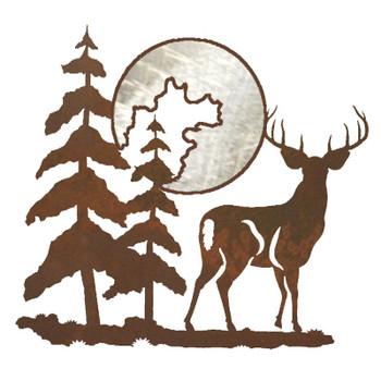 """20"""" Deer and Moon Metal Wall Art"""