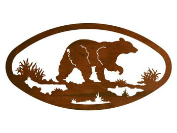 "22"" Oval Black Bear Metal Wall Art"