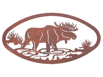 "22"" Oval Moose Metal Wall Art"