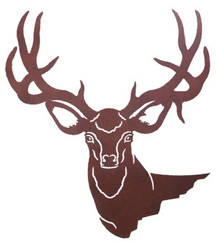 "30"" Mule Deer Head Metal Wall Art"