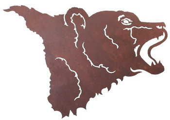 "30"" Bear Head Metal Wall Art"