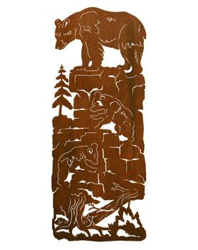 "42"" Mama Bear and Cubs Metal Wall Art"