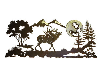 "57"" Bugle Elk in the Pines Metal Wall Art"