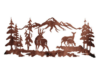 "57"" Deer Family in the Pines Metal Wall Art"