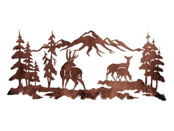 """57"""" Deer Family in the Pines Metal Wall Art"""