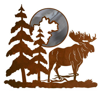 "20"" Moose and Moon Metal Wall Art"