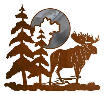 "20"" Moose and Moon Metal Wall Art"