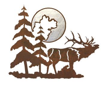 """20"""" Elk and Moon Metal Wall Art"""