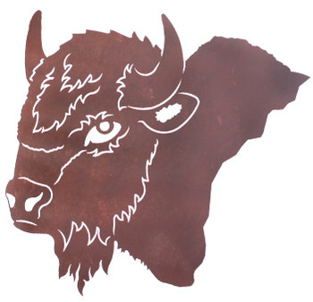 "27"" Buffalo Head Metal Wall Art"