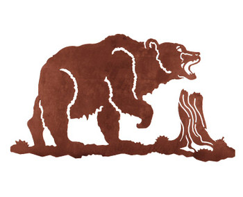 "31"" Walking Bear Metal Wall Art"