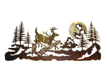 """57"""" Jumping Deer Metal Wall Art"""