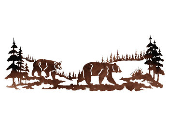 "84"" Bears in the Pine Forest Metal Wall Art"
