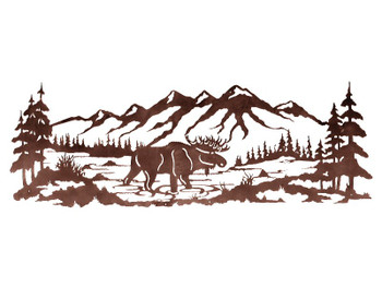 "84"" Moose in the Pine Forest Metal Wall Art"