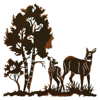"30"" Doe and Fawn Deer in the Wild Metal Wall Art"