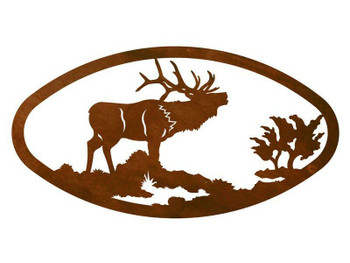 "22"" Oval Elk Metal Wall Art"