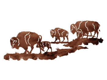"42"" Buffalo Herd Metal Wall Art"