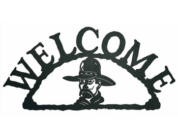 Cowboy Bust Metal Welcome Sign