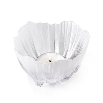 Anemone Clear Crystal Tea Light Candle Holder by Mats Jonasson